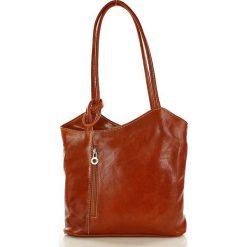 Plecaki damskie: Włoska torebka skórzana – plecak GIOVANNI camel