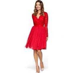 Czerwona Wieczorowa Sukienka z Tiulu i Koronki. Czerwone sukienki balowe Molly.pl, na imprezę, l, w koronkowe wzory, z koronki, z kopertowym dekoltem, kopertowe. Za 279,90 zł.