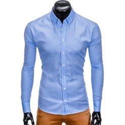 KOSZULA MĘSKA Z DŁUGIM RĘKAWEM K408 - BŁĘKITNA. Niebieskie koszule męskie na spinki Ombre Clothing, m, z kontrastowym kołnierzykiem, z długim rękawem. Za 59,00 zł.