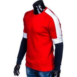 BLUZA MĘSKA BEZ KAPTURA B872 - CZERWONA. Czerwone bejsbolówki męskie Ombre Clothing, m, z bawełny, bez kaptura. Za 69,00 zł.