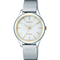 ZEGAREK CITIZEN Lady EM0504-81A. Białe, analogowe zegarki damskie CITIZEN, sztuczne. Za 680,00 zł.