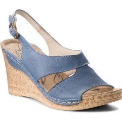 b16edab347da9 Sandały ŁUKBUT - 556 Niebieski. Niebieskie klapki damskie Łukbut, bez  wzorów, ze skóry