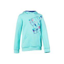 Bluza 500 Gym. Niebieskie bluzy dziewczęce rozpinane DOMYOS, z kapturem. W wyprzedaży za 29,99 zł.