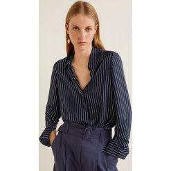 Mango - Koszula Angelica. Czarne koszule damskie marki Mango, l, w paski, z materiału, klasyczne, z klasycznym kołnierzykiem, z długim rękawem. Za 89,90 zł.
