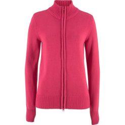 Sweter rozpinany bonprix czerwień granatu. Czerwone golfy damskie marki bonprix, w prążki, z bawełny. Za 74,99 zł.