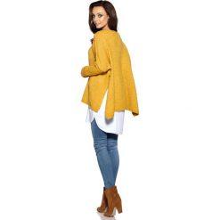 Modny sweter ponczo musztardowy MOLLY. Szare poncza Lemoniade, na jesień, ze splotem. Za 149,90 zł.