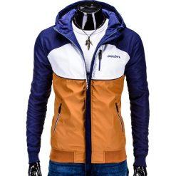 KURTKA MĘSKA PRZEJŚCIOWA SPORTOWA C97 - RUDA. Zielone kurtki sportowe męskie marki Ombre Clothing, na zimę, m, z bawełny, z kapturem. Za 89,00 zł.