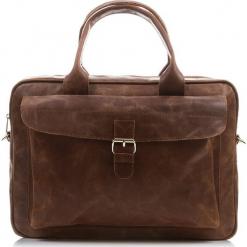 Brązowa SKÓRZANA TORBA NA LAPTOPA BALEINE. Brązowe torby na laptopa marki Baleine, w paski, ze skóry. Za 449,00 zł.