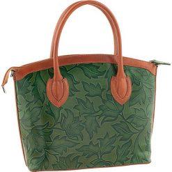 Torebki klasyczne damskie: Skórzana torebka w kolorze jasnobrązowo-zielonym – 36 x 26 x 15 cm