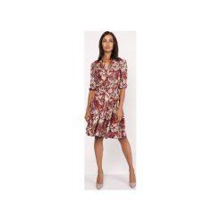 Uniwersalna sukienka z delikatną stójką, SUK155 wzór. Szare sukienki na komunię Lanti, do pracy, uniwersalny, biznesowe, ze stójką, rozkloszowane. Za 179,00 zł.