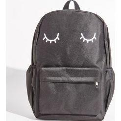 Plecaki damskie: Szkolny plecak z nadrukiem - Czarny
