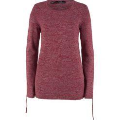 Swetry klasyczne damskie: Sweter melanżowy z ozdobnym marszczeniem bonprix czerwony klonowy melanż
