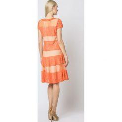 Efektowna sukienka rozkloszowana mr-337b. Brązowe sukienki koktajlowe marki SALE, xl, z krótkim rękawem, midi, rozkloszowane. W wyprzedaży za 124,95 zł.
