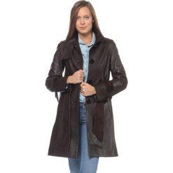 Płaszcze damskie: Skórzany płaszcz w kolorze brązowym