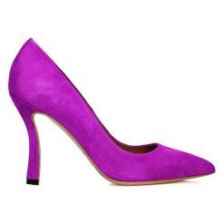 Buty ślubne damskie: Skórzane czółenka w kolorze fuksji