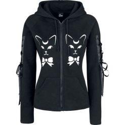 Bluzy rozpinane damskie: Banned Cat Hoodie Bluza z kapturem rozpinana damska czarny/biały