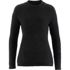 Sweter ze stójką i strukturalnym wzorem bonprix czarny. Czarne swetry klasyczne damskie bonprix, ze stójką. Za 49,99 zł.