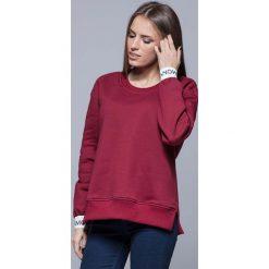 Bluzy damskie: Bordowa Nierozpinana Bluza Dresowa z Ozdobną Gumką na Rękawach