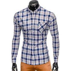 KOSZULA MĘSKA W KRATĘ Z DŁUGIM RĘKAWEM K393 - NIEBIESKA/SZARA. Niebieskie koszule męskie na spinki marki Ombre Clothing, m, z długim rękawem. Za 49,00 zł.