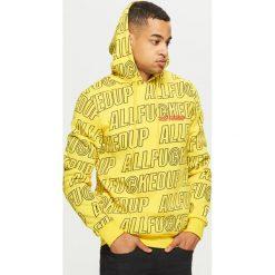 Bluza z napisami all over - Żółty. Żółte bluzy męskie rozpinane Cropp, l, z napisami. Za 119,99 zł.