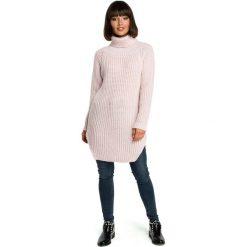 Różowy Wygodny Długi Sweter z Golfem. Czerwone golfy damskie Molly.pl, uniwersalny, z jeansu, z długim rękawem. Za 118,90 zł.
