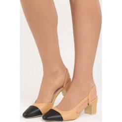 Camelowe Sandały Selaut. Brązowe sandały damskie na słupku marki Born2be, z materiału, na wysokim obcasie. Za 49,99 zł.