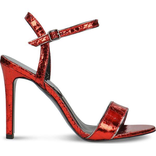 a097e91c1322b Sandały GINA - Czerwone sandały damskie Gino Rossi, w paski, ze ...