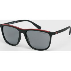 Emporio Armani - Okulary. Szare okulary przeciwsłoneczne męskie lustrzane marki Emporio Armani, l, z nadrukiem, z bawełny, z okrągłym kołnierzem. Za 499,90 zł.