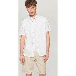 Koszule męskie na spinki: Koszula z krótkim rękawem – Kremowy