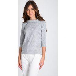 Bluzki damskie: Szara melanżowa bluzka z półgolfem QUIOSQUE