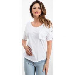 Biała bluzka - srebrne kółka 21587. Białe bluzki damskie Fasardi, m. Za 34,00 zł.
