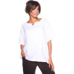 """Bluzki asymetryczne: Lniana koszulka """"Shirane"""" w kolorze białym"""