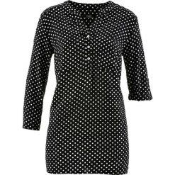 Bluzki asymetryczne: Bluzka z rękawami 3/4 bonprix czarno-biały w kropki
