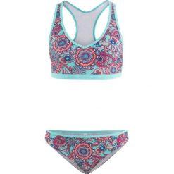 Bikini z biustonoszem opaską (2 części) bonprix turkusowy z nadrukiem. Niebieskie bikini bonprix, z nadrukiem. Za 89,99 zł.