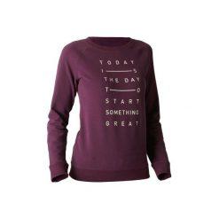 Bluza Gym & Pilates 500 damska. Fioletowe bluzy sportowe damskie marki DOMYOS, xl, z bawełny. W wyprzedaży za 39,99 zł.