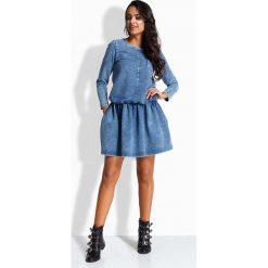 Jeansowa Sukienka z Obniżonym Stanem. Niebieskie sukienki na komunię marki Molly.pl, l, z jeansu, z okrągłym kołnierzem, z długim rękawem, w kształcie a. Za 175,90 zł.