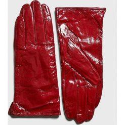 Answear - Rękawiczki skórzane. Czerwone rękawiczki damskie marki ANSWEAR, z materiału. Za 69,90 zł.