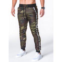 Spodnie męskie: SPODNIE MĘSKIE DRESOWE P653 – ZIELONE/MORO