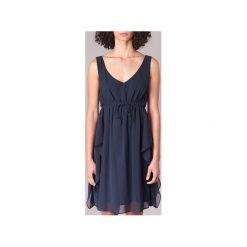 Sukienki krótkie Naf Naf  LALITA R1. Niebieskie sukienki mini marki NAF NAF, z krótkim rękawem. Za 183,20 zł.