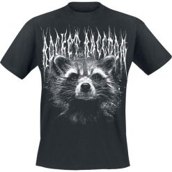 Guardians Of The Galaxy 2 - Black Metal Rocket T-Shirt czarny. Czarne t-shirty męskie z nadrukiem Guardians Of The Galaxy, l, z okrągłym kołnierzem. Za 89,90 zł.