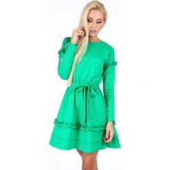 Sukienka z falbankami zielona 1893. Zielone sukienki marki Reserved, z wiskozy. Za 89,00 zł.