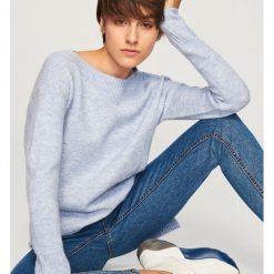 Swetry klasyczne damskie: Długi sweter - Niebieski