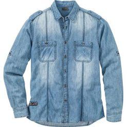 """Koszula dżinsowa z długim rękawem Slim Fit bonprix Niebieski """"stone"""" Used. Białe koszule męskie slim marki bonprix, z klasycznym kołnierzykiem, z długim rękawem. Za 49,99 zł."""