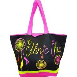 """Torba plażowa """"Acapulco"""" w kolorze czarnym ze wzorem - 35 x 58 x 23 cm. Czarne shopper bag damskie Le Comptoir de la Plage, z tworzywa sztucznego. W wyprzedaży za 38,95 zł."""