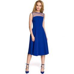Rozkloszowana sukienka  moe271. Niebieskie sukienki balowe Moe, xl, z tiulu, z klasycznym kołnierzykiem, bez rękawów, dopasowane. Za 149,90 zł.