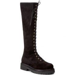 Kozaki TWINSET - Anfibio CA7PA1 Nero 00006. Czarne buty zimowe damskie Twinset, z materiału, przed kolano, na wysokim obcasie, na obcasie. W wyprzedaży za 719,00 zł.