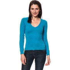 Swetry klasyczne damskie: Sweter w kolorze turkusowym