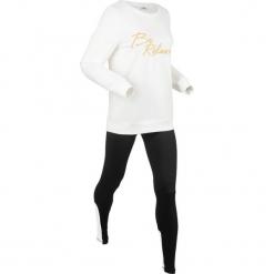 Bluza z legginsami sportowymi (kompl. 2-częściowy) bonprix biel wełny - czarny. Białe bluzy sportowe damskie bonprix, z wełny. Za 129,99 zł.