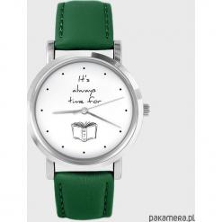 Zegarek - Time for a book - zielony, skórzany. Zielone zegarki męskie Pakamera. Za 139,00 zł.
