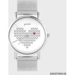 Zegarki damskie: Zegarek - Serce dziergane - metalowy